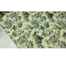 """Ткань портьерная в.2,8м.""""Серые цветы"""" на желтом 15183-2-В6"""
