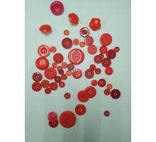 Пуговицы красные в ассортименте