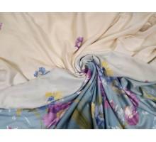 """Лен 2,8 м. портьерный """"Фиолетовые цветы на бежевом и голубом"""""""
