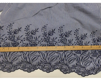 Тк. сороч. ш.1,4м. темно-синяя полоса,вышивка VT 16467 D2C3
