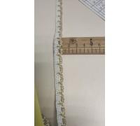 Кружево вязаное 1см бело-золотое В063