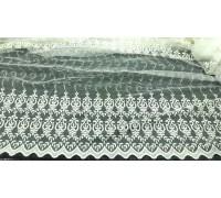 Тюль сетка в.2,8м. вышивка молочный Вензель  845012 с2752