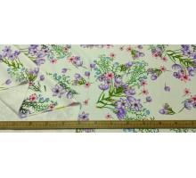 """Атлас стрейч ш.1,5м.  """"Полевые цветы"""" на белом LA 2904 С125"""