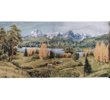 "Картина гобелен ""Лошади в горах"",68см*35см,брак"