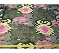Шифон ш.1,5м.серо-розовый узор с люрексом