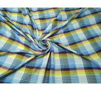 Ткань сорочечная ш.1,5м.бордово-голубая клетка, жатая